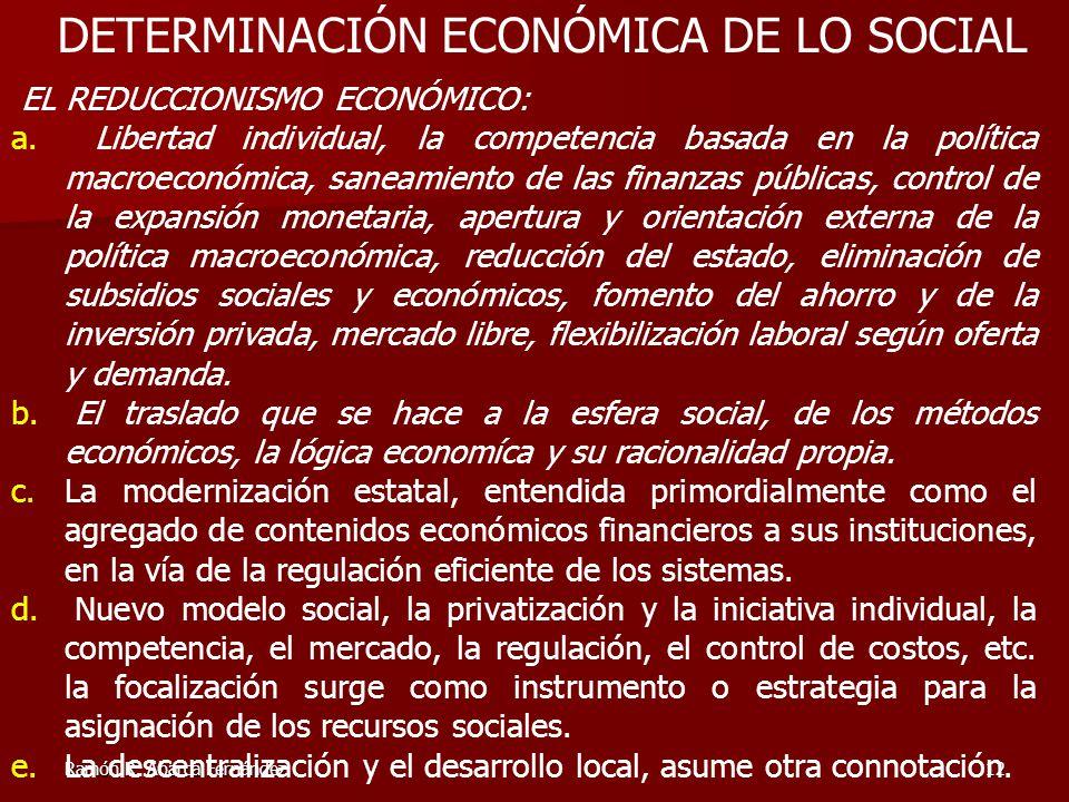 Ramón R. Abarca Fernández12 EL REDUCCIONISMO ECONÓMICO: a. Libertad individual, la competencia basada en la política macroeconómica, saneamiento de la