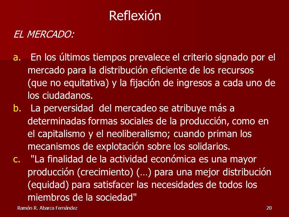 Ramón R. Abarca Fernández20 Reflexión EL MERCADO: a. En los últimos tiempos prevalece el criterio signado por el mercado para la distribución eficient