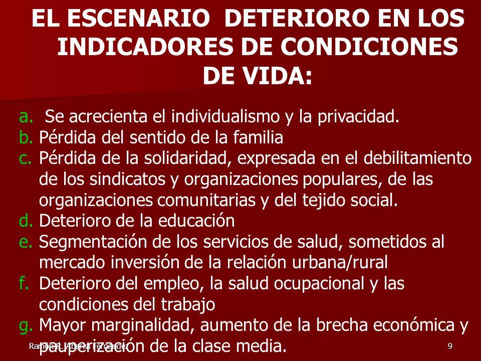 Ramón R. Abarca Fernández9 EL ESCENARIO DETERIORO EN LOS INDICADORES DE CONDICIONES DE VIDA: a. Se acrecienta el individualismo y la privacidad. b.Pér
