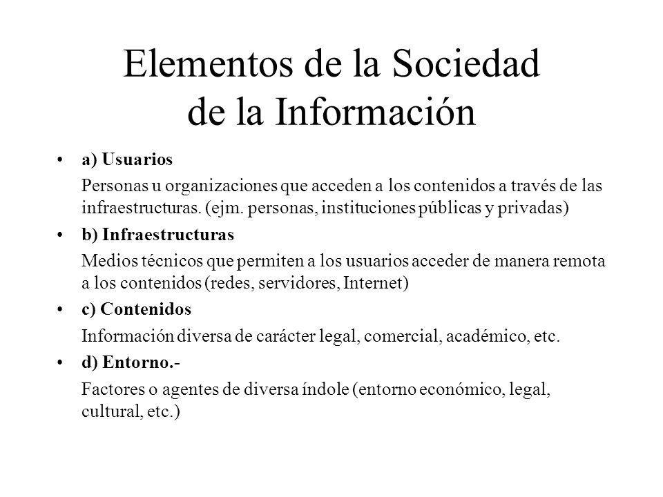Elementos de la Sociedad de la Información a) Usuarios Personas u organizaciones que acceden a los contenidos a través de las infraestructuras. (ejm.