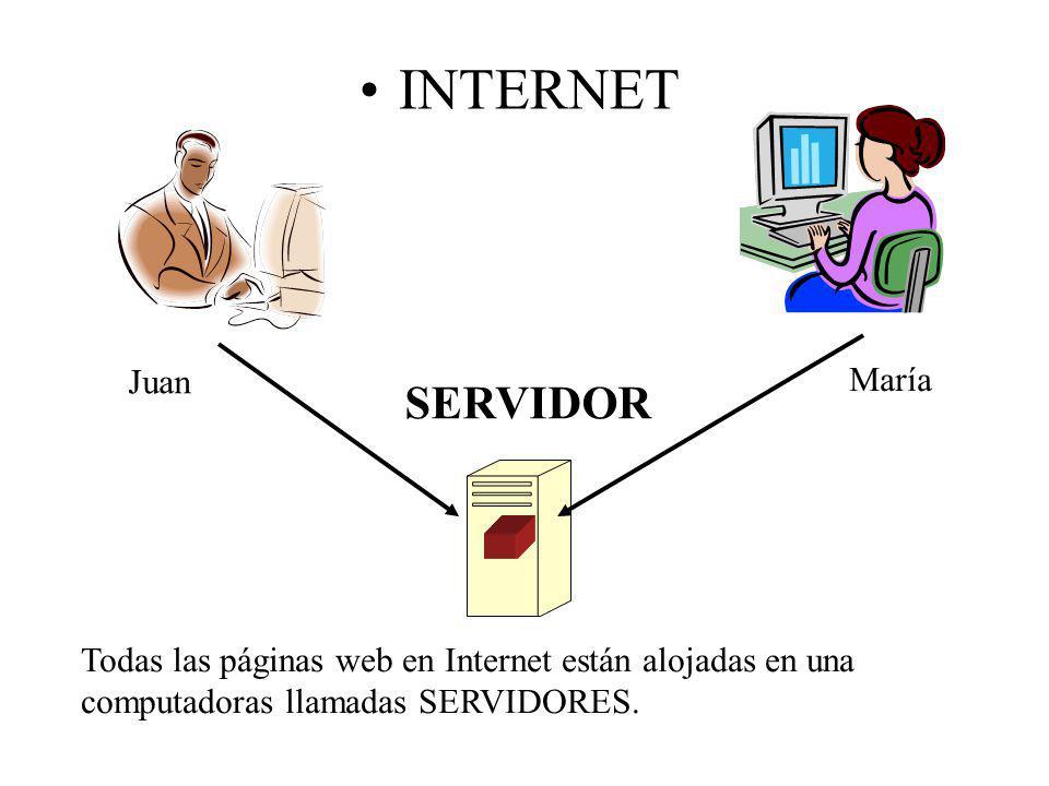 INTERNET SERVIDOR Juan María Todas las páginas web en Internet están alojadas en una computadoras llamadas SERVIDORES.