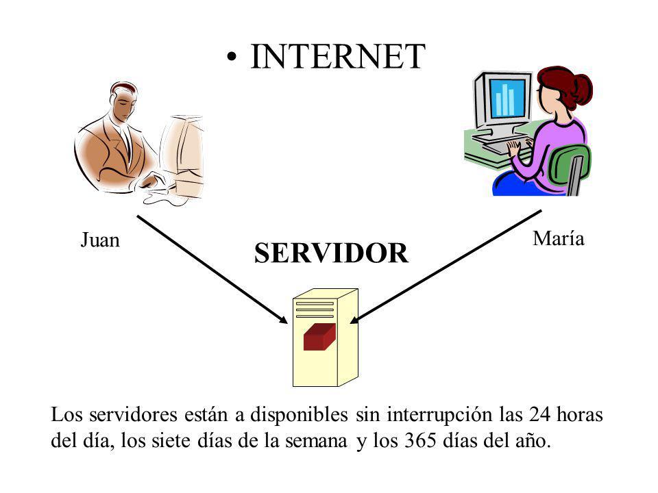 INTERNET SERVIDOR Juan María Los servidores están a disponibles sin interrupción las 24 horas del día, los siete días de la semana y los 365 días del