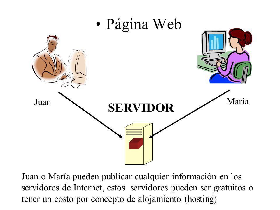 Página Web SERVIDOR Juan María Juan o María pueden publicar cualquier información en los servidores de Internet, estos servidores pueden ser gratuitos