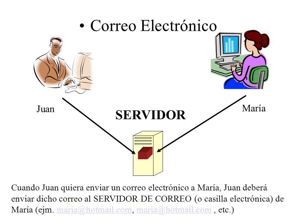 Correo Electrónico SERVIDOR Juan María Cuando Juan quiera enviar un correo electrónico a María, Juan deberá enviar dicho correo al SERVIDOR DE CORREO