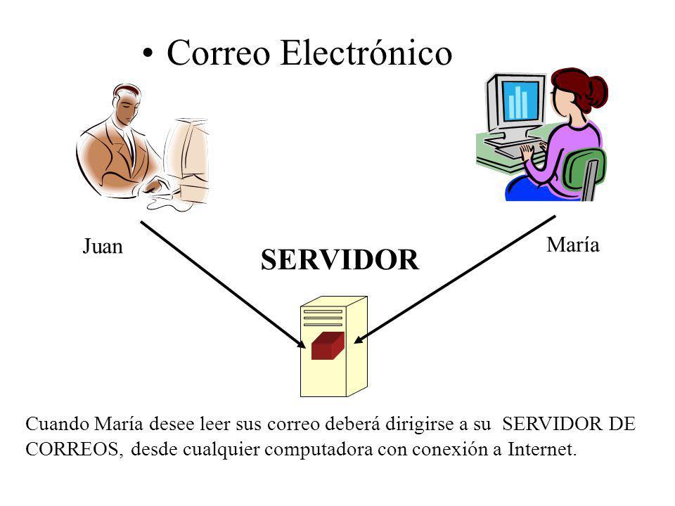 Correo Electrónico SERVIDOR Juan María Cuando María desee leer sus correo deberá dirigirse a su SERVIDOR DE CORREOS, desde cualquier computadora con c