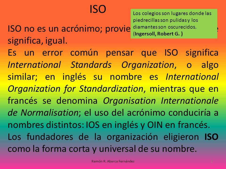 ISO no es un acrónimo; proviene del griego iso, que significa, igual. Es un error común pensar que ISO significa International Standards Organization,