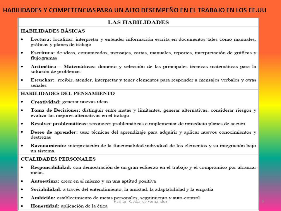 HABILIDADES Y COMPETENCIAS PARA UN ALTO DESEMPEÑO EN EL TRABAJO EN LOS EE.UU 9