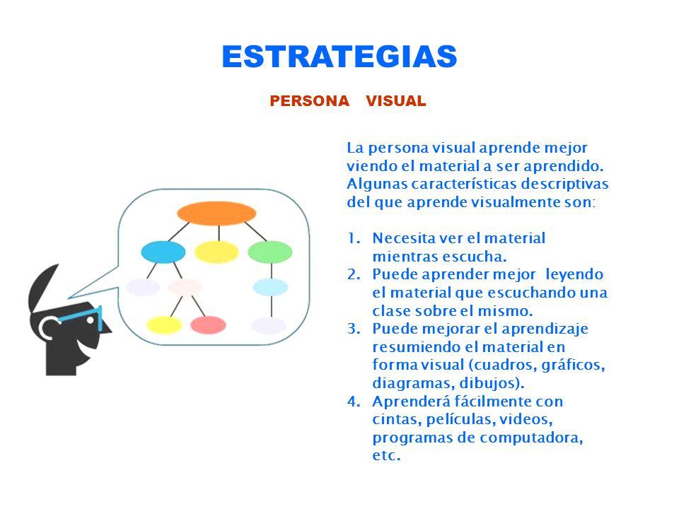ESTRATEGIAS PERSONA VISUAL La persona visual aprende mejor viendo el material a ser aprendido. Algunas características descriptivas del que aprende vi