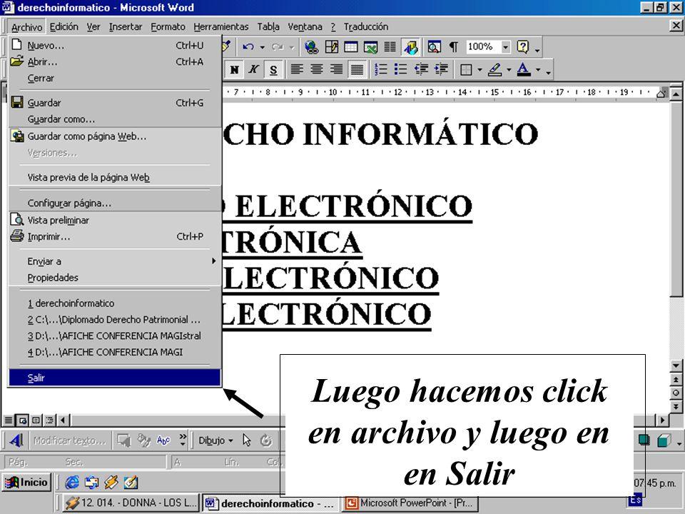 Luego hacemos click en Inicio, Programas y en Explorador de Windows, ubicamos la unidad C y luego ubicamos el archivo derechoinformatico.htm Hacemos doble click en el archivo derechoinformatico.htm