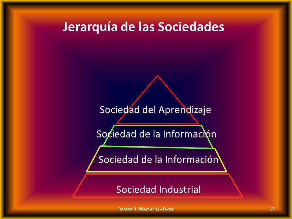 Sociedad Industrial Sociedad de la Información Sociedad de la Información Sociedad del Aprendizaje Jerarquía de las Sociedades 17Ramón R. Abarca Ferná