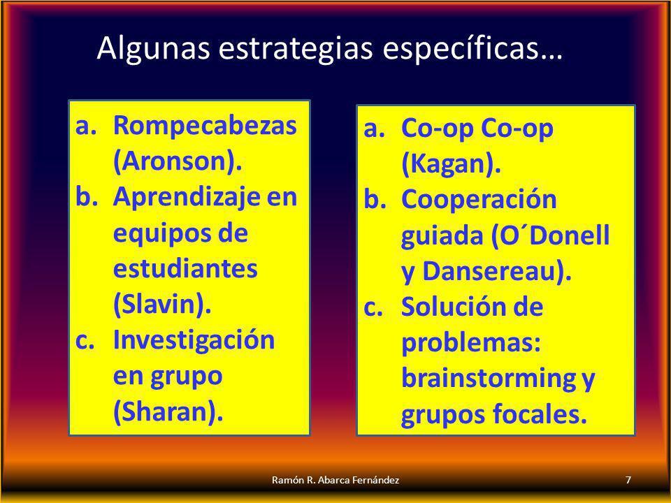 Algunas estrategias específicas… 7Ramón R. Abarca Fernández a.Rompecabezas (Aronson). b.Aprendizaje en equipos de estudiantes (Slavin). c.Investigació
