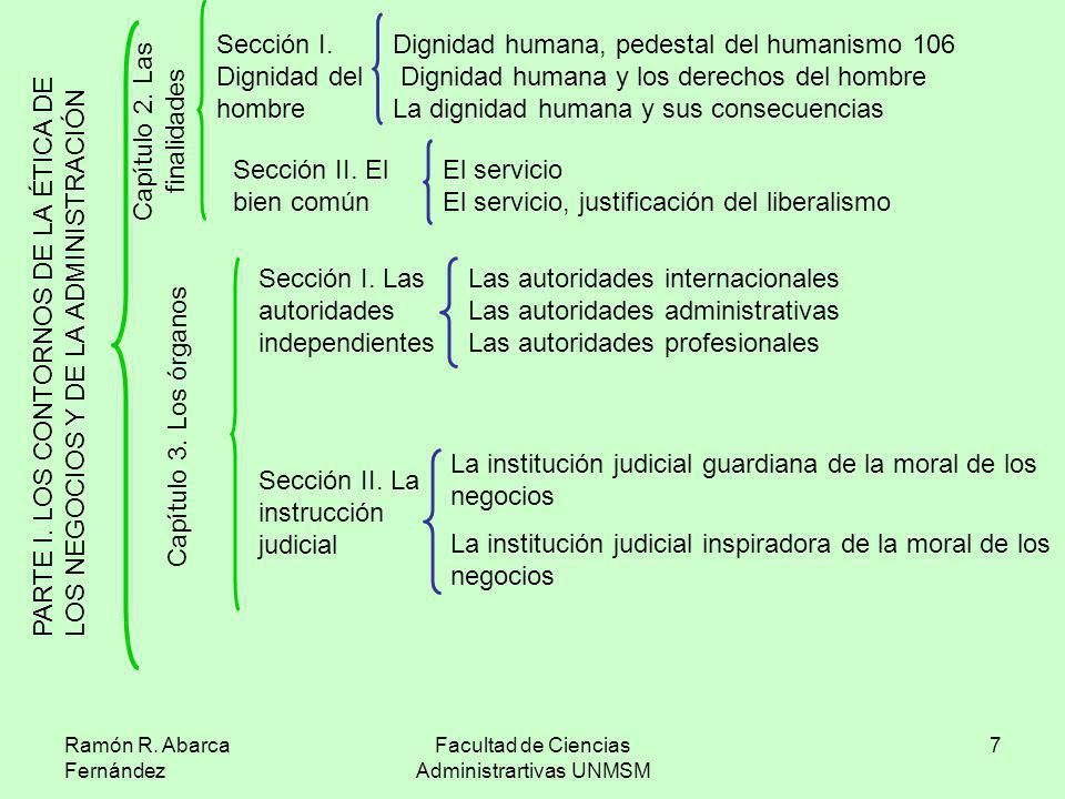 Ramón R. Abarca Fernández Facultad de Ciencias Administrartivas UNMSM 7 P A R T E I. L O S C O N T O R N O S D E L A É T I C A D E L O S N E G O C I O