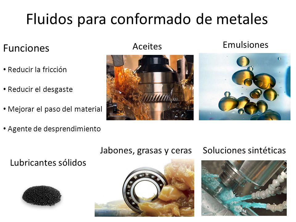 Fluidos para conformado de metales Funciones Reducir la fricción Reducir el desgaste Mejorar el paso del material Agente de desprendimiento Aceites Em
