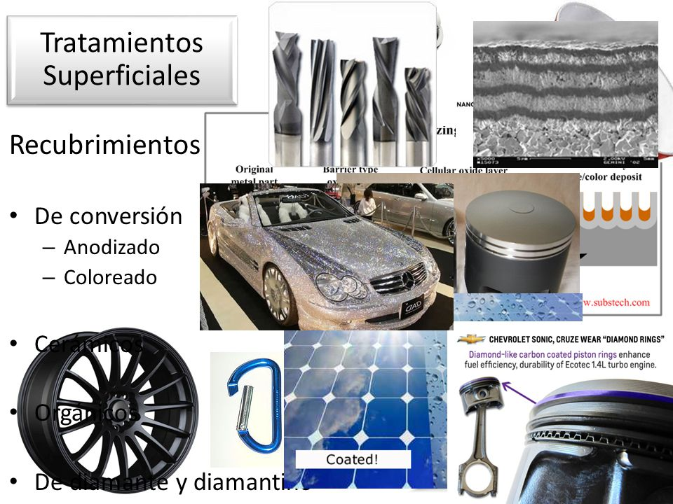 Recubrimientos De conversión – Anodizado – Coloreado Cerámicos Orgánicos De diamante y diamantino Tratamientos Superficiales