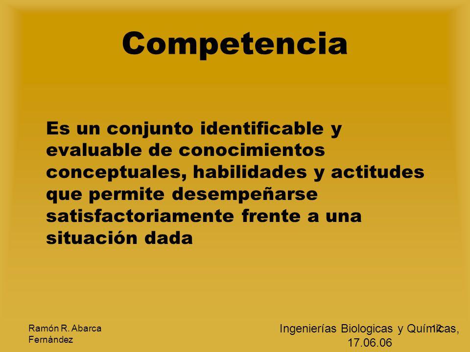 Ramón R. Abarca Fernández 12 Competencia Es un conjunto identificable y evaluable de conocimientos conceptuales, habilidades y actitudes que permite d