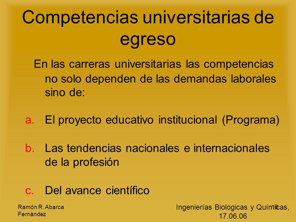 Ramón R. Abarca Fernández 18 Competencias universitarias de egreso E n las carreras universitarias las competencias no solo dependen de las demandas l