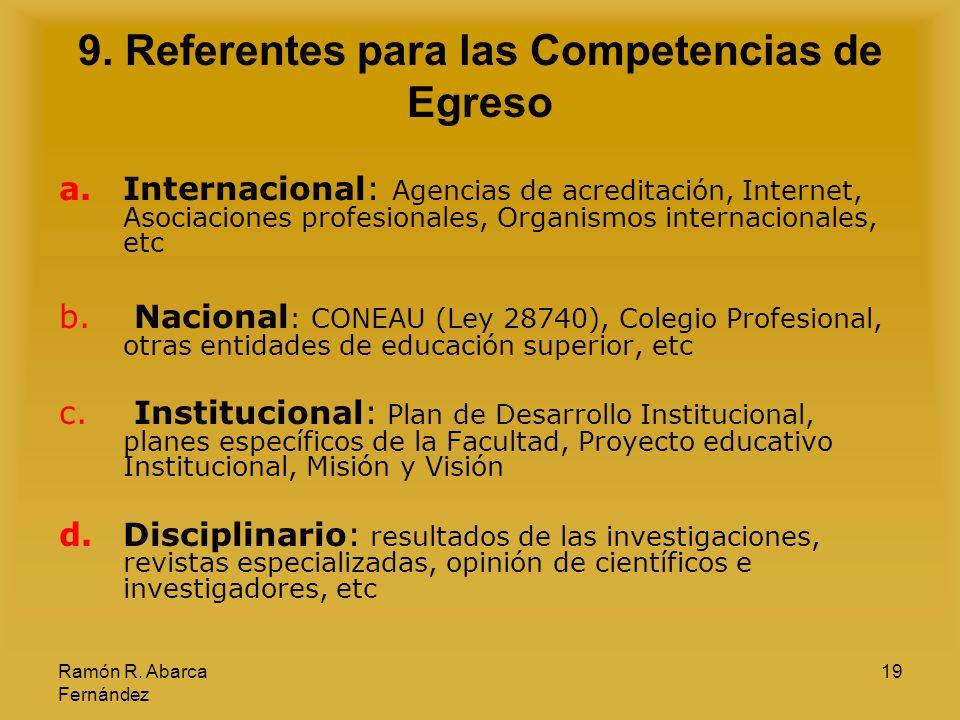 Ramón R. Abarca Fernández 19 9. Referentes para las Competencias de Egreso a.Internacional: Agencias de acreditación, Internet, Asociaciones profesion