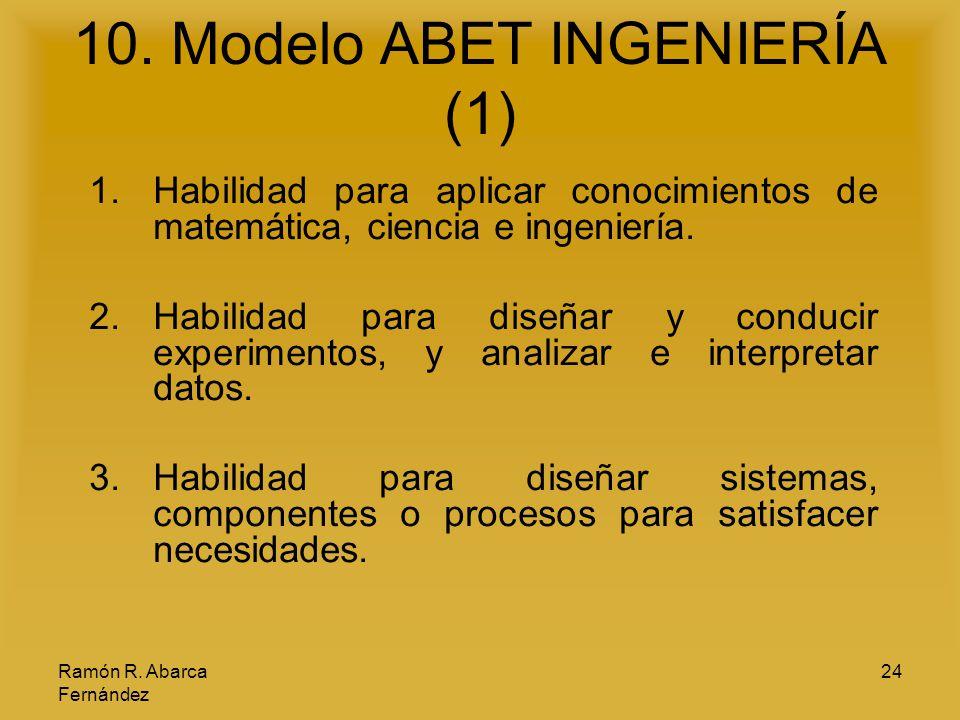 Ramón R. Abarca Fernández 24 10. Modelo ABET INGENIERÍA (1) 1.Habilidad para aplicar conocimientos de matemática, ciencia e ingeniería. 2.Habilidad pa