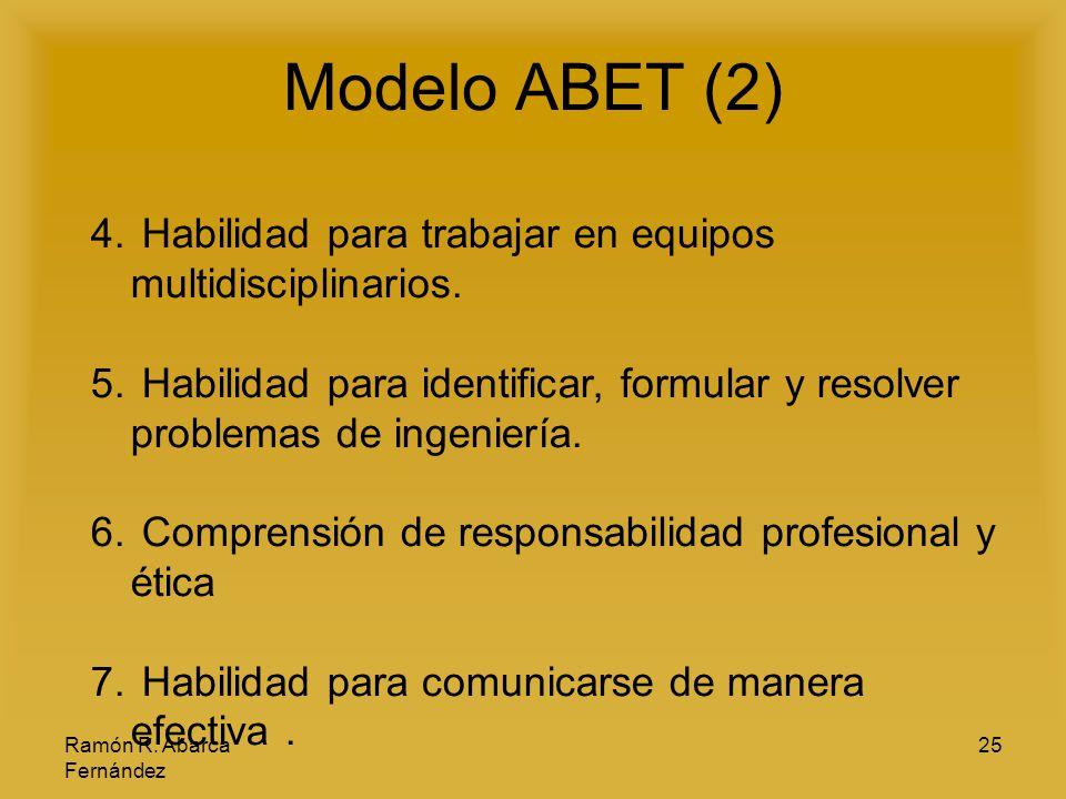 Ramón R. Abarca Fernández 25 Modelo ABET (2) 4. Habilidad para trabajar en equipos multidisciplinarios. 5. Habilidad para identificar, formular y reso