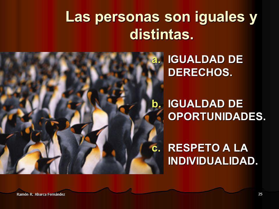 25 Ramón R.Abarca Fernández Las personas son iguales y distintas.