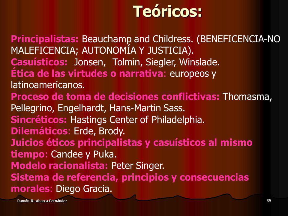 39 Ramón R.Abarca FernándezTeóricos: Principalistas: Beauchamp and Childress.