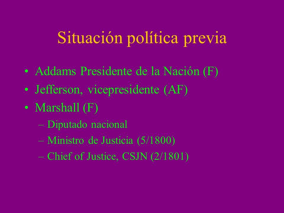 Situación política previa Addams Presidente de la Nación (F) Jefferson, vicepresidente (AF) Marshall (F) –Diputado nacional –Ministro de Justicia (5/1