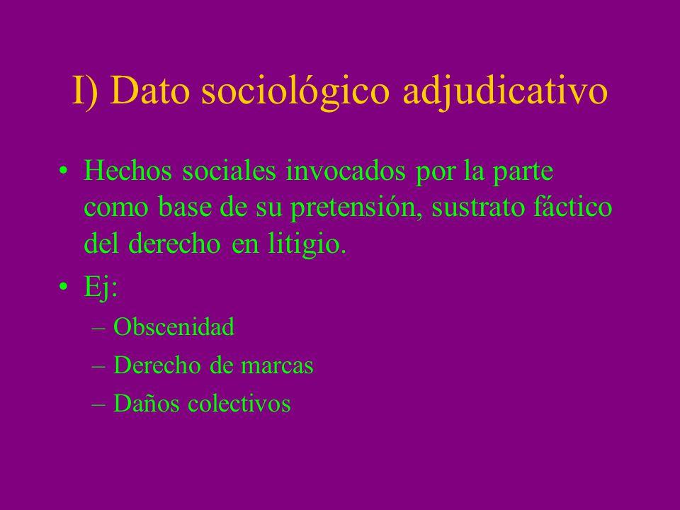 I) Dato sociológico adjudicativo Hechos sociales invocados por la parte como base de su pretensión, sustrato fáctico del derecho en litigio. Ej: –Obsc