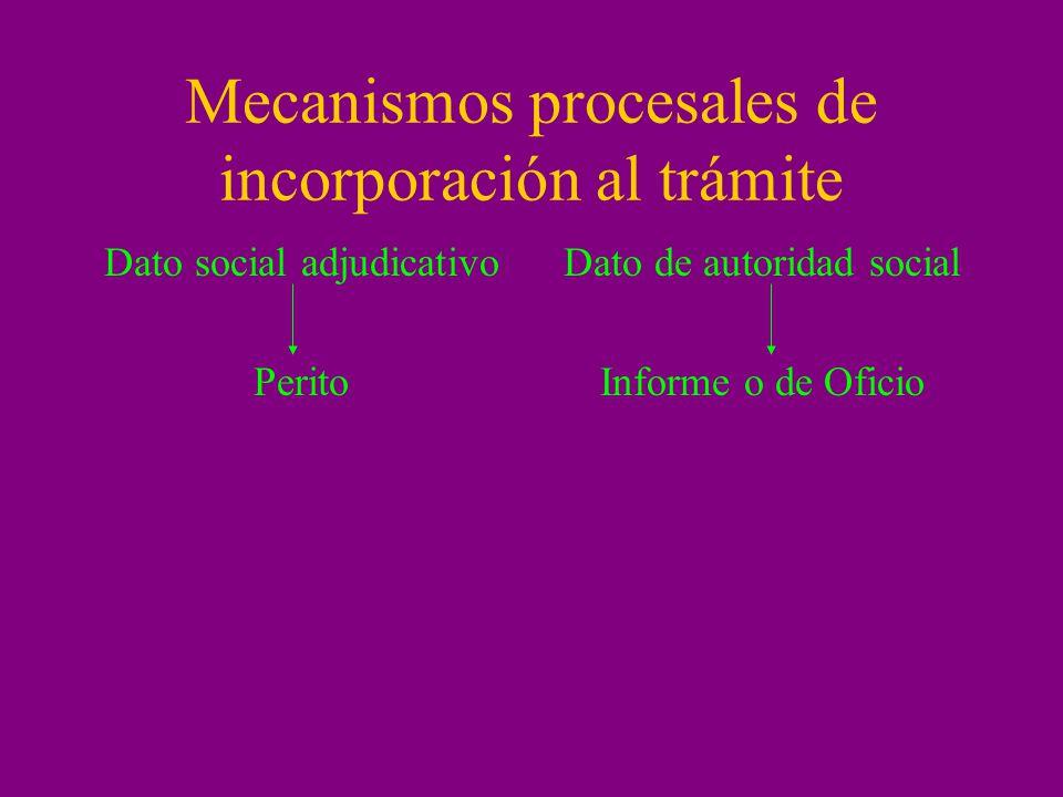 Mecanismos procesales de incorporación al trámite Dato social adjudicativo Perito Dato de autoridad social Informe o de Oficio