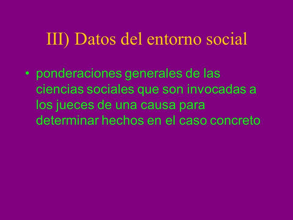 III) Datos del entorno social ponderaciones generales de las ciencias sociales que son invocadas a los jueces de una causa para determinar hechos en e