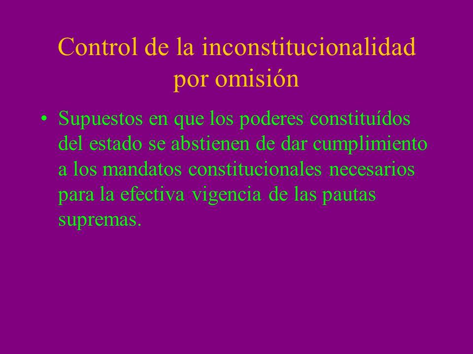 Control de la inconstitucionalidad por omisión Supuestos en que los poderes constituídos del estado se abstienen de dar cumplimiento a los mandatos co