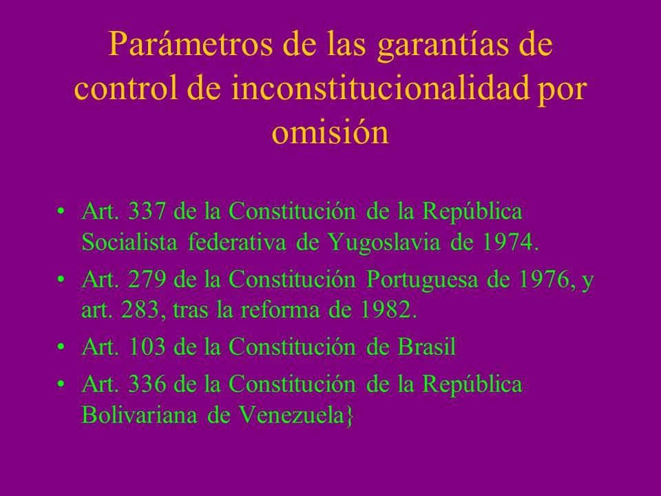 Parámetros de las garantías de control de inconstitucionalidad por omisión Art. 337 de la Constitución de la República Socialista federativa de Yugosl