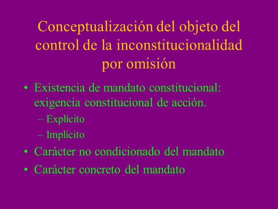 Conceptualización del objeto del control de la inconstitucionalidad por omisión Existencia de mandato constitucional: exigencia constitucional de acci