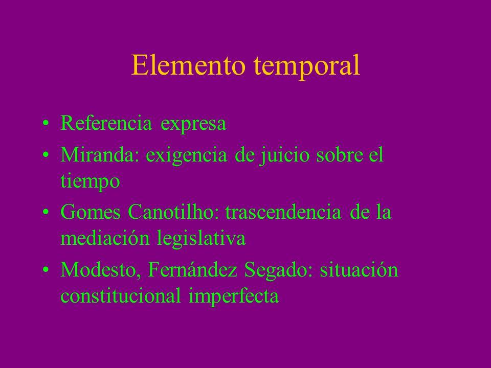 Elemento temporal Referencia expresa Miranda: exigencia de juicio sobre el tiempo Gomes Canotilho: trascendencia de la mediación legislativa Modesto,