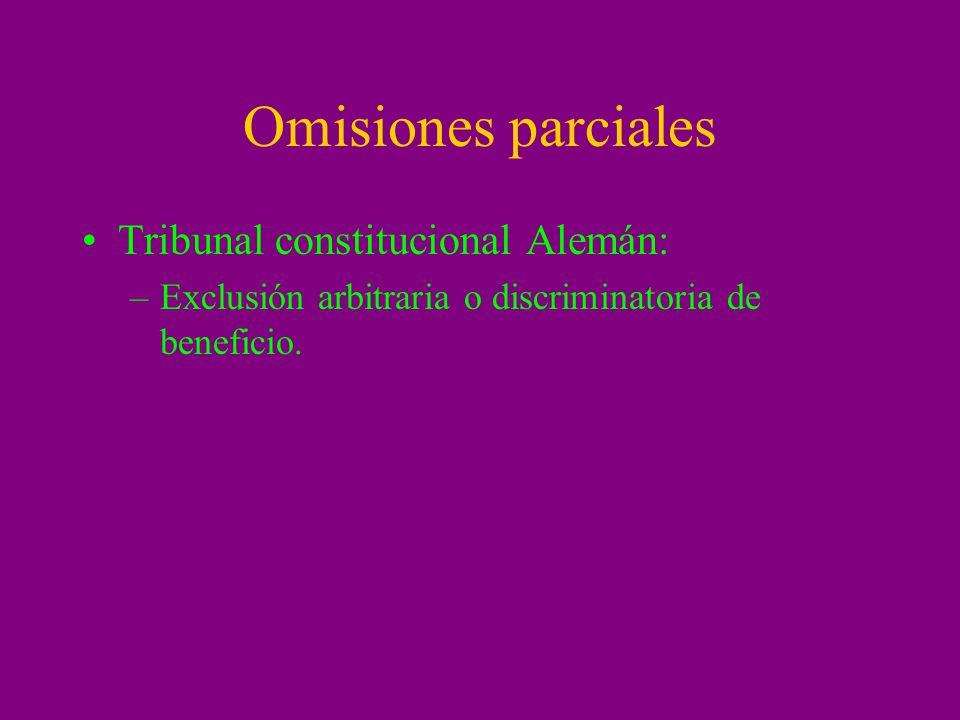 Omisiones parciales Tribunal constitucional Alemán: –Exclusión arbitraria o discriminatoria de beneficio.