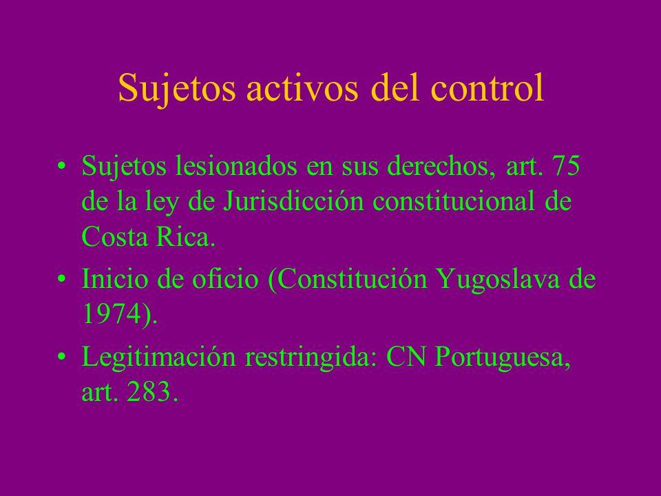 Sujetos activos del control Sujetos lesionados en sus derechos, art. 75 de la ley de Jurisdicción constitucional de Costa Rica. Inicio de oficio (Cons