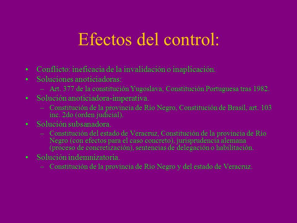 Efectos del control: Conflicto: ineficacia de la invalidación o inaplicación. Soluciones anoticiadoras: –Art. 377 de la constitución Yugoslava, Consti