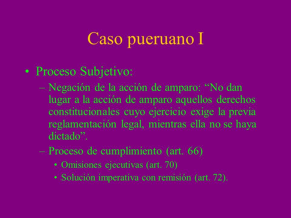 Caso pueruano I Proceso Subjetivo: –Negación de la acción de amparo: No dan lugar a la acción de amparo aquellos derechos constitucionales cuyo ejerci