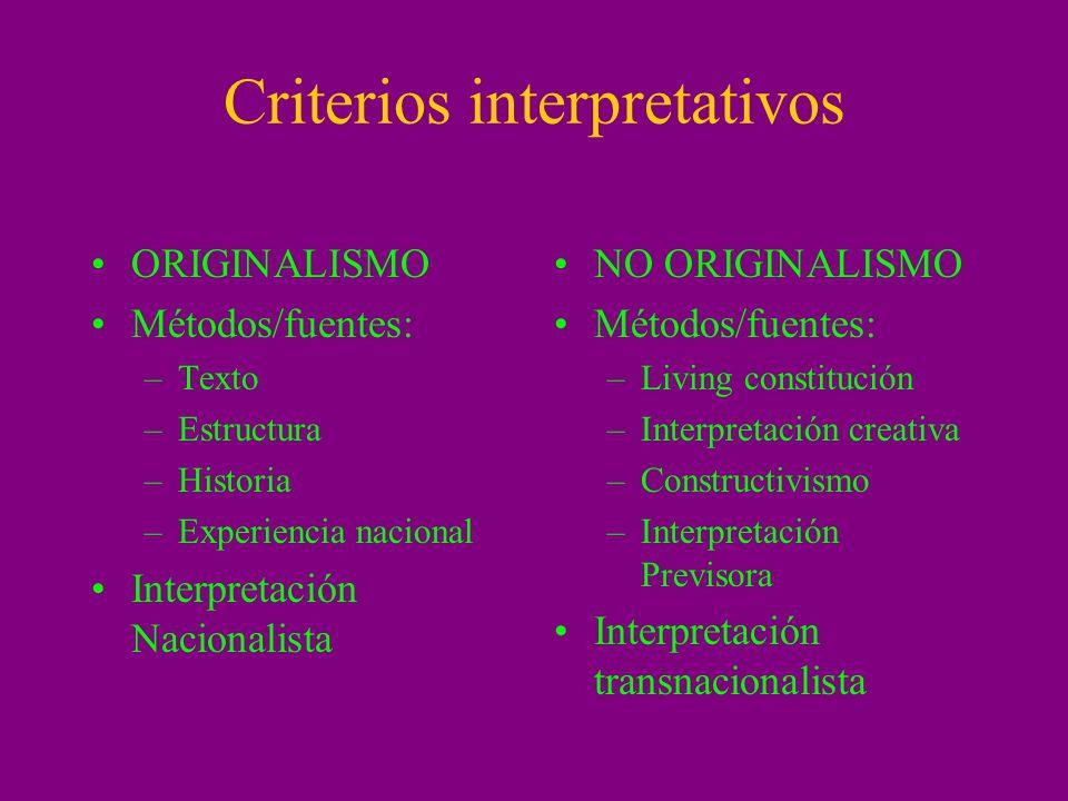 Criterios interpretativos ORIGINALISMO Métodos/fuentes: –Texto –Estructura –Historia –Experiencia nacional Interpretación Nacionalista NO ORIGINALISMO