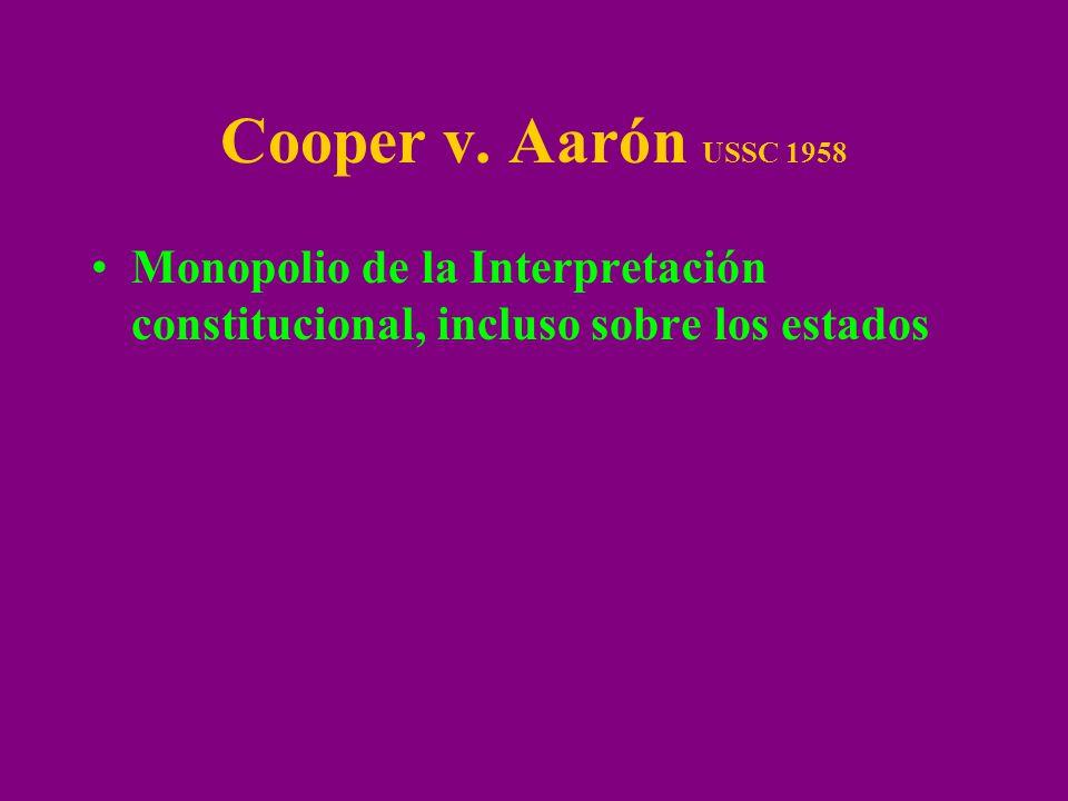 Cooper v. Aarón USSC 1958 Monopolio de la Interpretación constitucional, incluso sobre los estados