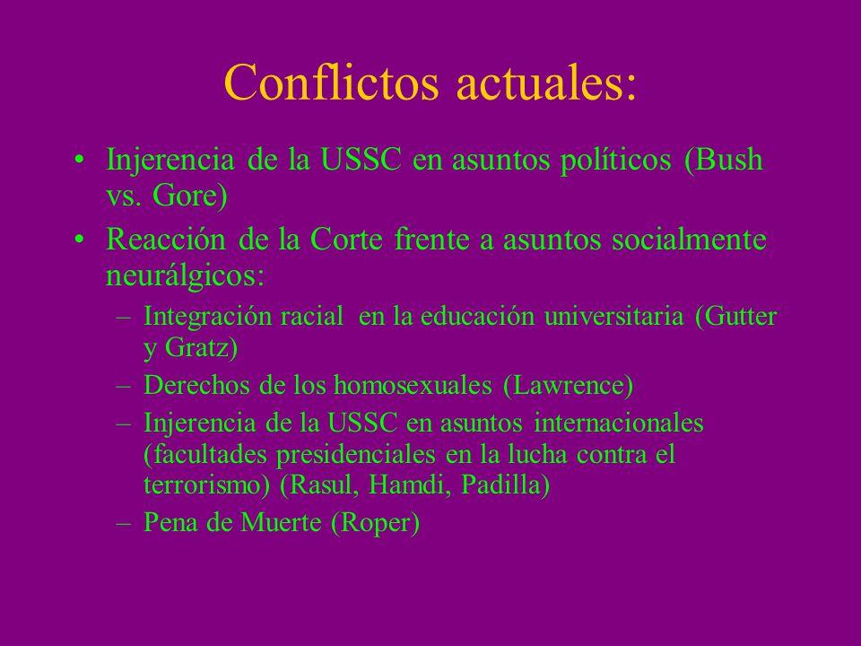 Conflictos actuales: Injerencia de la USSC en asuntos políticos (Bush vs. Gore) Reacción de la Corte frente a asuntos socialmente neurálgicos: –Integr