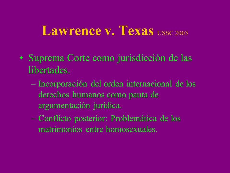 Lawrence v. Texas USSC 2003 Suprema Corte como jurisdicción de las libertades. –Incorporación del orden internacional de los derechos humanos como pau