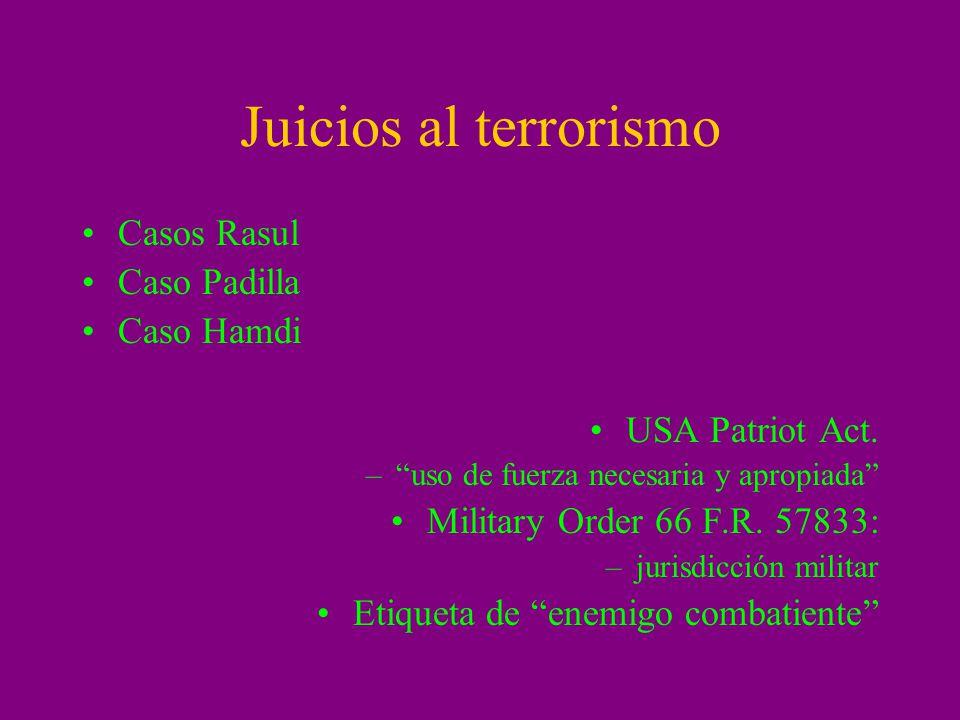 Juicios al terrorismo Casos Rasul Caso Padilla Caso Hamdi USA Patriot Act. –uso de fuerza necesaria y apropiada Military Order 66 F.R. 57833: –jurisdi