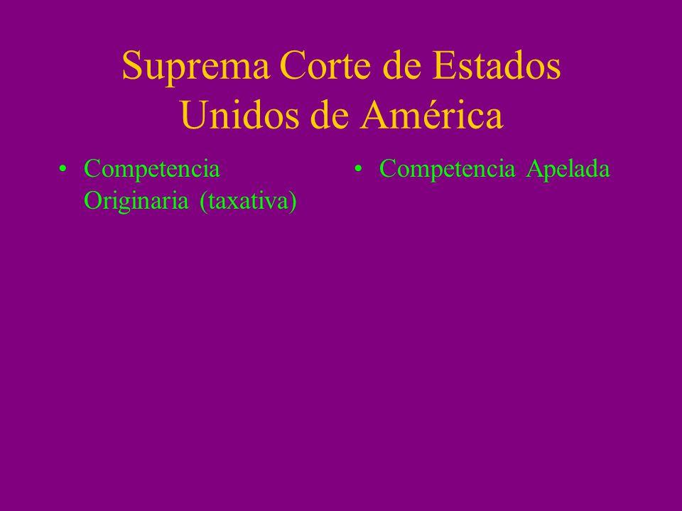 Suprema Corte de Estados Unidos de América Competencia Originaria (taxativa) Competencia Apelada