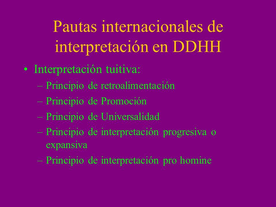 Pautas internacionales de interpretación en DDHH Interpretación tuitiva: –Principio de retroalimentación –Principio de Promoción –Principio de Univers