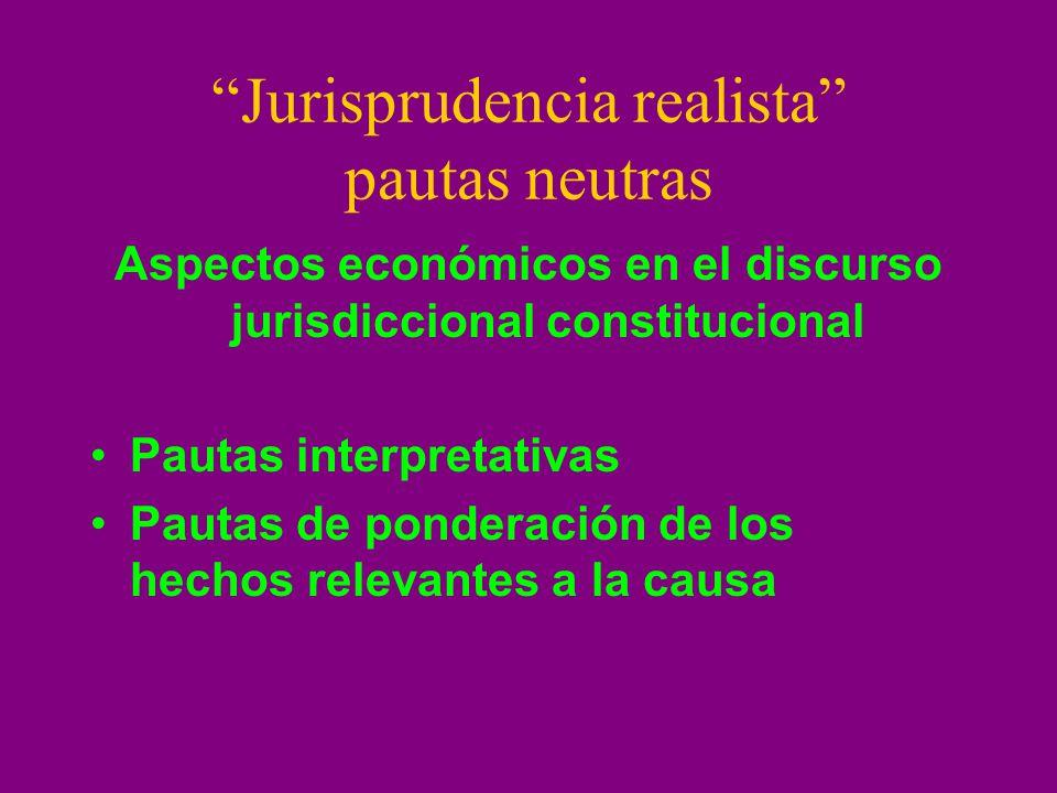 Jurisprudencia realista pautas neutras Aspectos económicos en el discurso jurisdiccional constitucional Pautas interpretativas Pautas de ponderación d