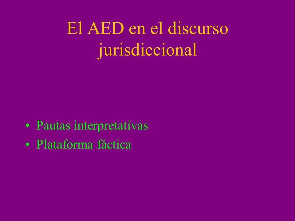 El AED en el discurso jurisdiccional Pautas interpretativas Plataforma fáctica