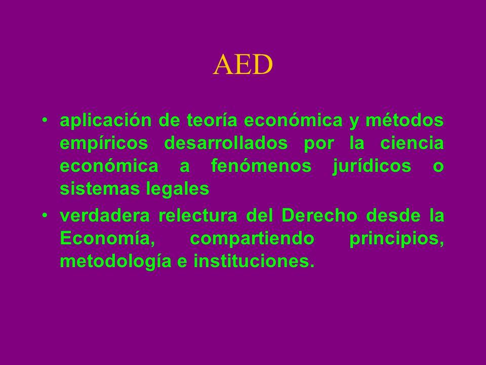 AED aplicación de teoría económica y métodos empíricos desarrollados por la ciencia económica a fenómenos jurídicos o sistemas legales verdadera relec
