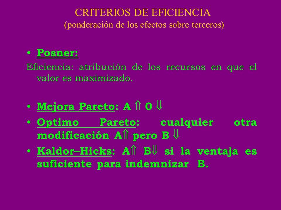 CRITERIOS DE EFICIENCIA (ponderación de los efectos sobre terceros) Posner: Eficiencia: atribución de los recursos en que el valor es maximizado. Mejo
