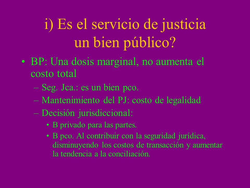 i) Es el servicio de justicia un bien público? BP: Una dosis marginal, no aumenta el costo total –Seg. Jca.: es un bien pco. –Mantenimiento del PJ: co