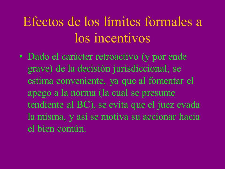 Efectos de los límites formales a los incentivos Dado el carácter retroactivo (y por ende grave) de la decisión jurisdiccional, se estima conveniente,